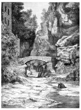 dessin noir et blanc: Près de Sorrente, vintage illustration gravée. Magasin Pittoresque 1875.