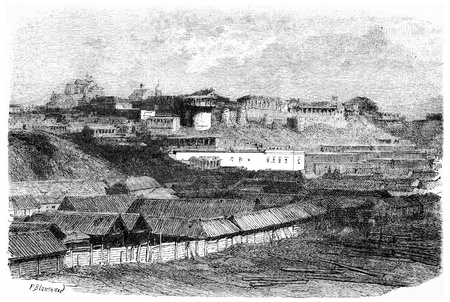 rooftop: Daria tower, the Convent of the Transfiguration Russian colony Pesky Sands, vintage engraved illustration. Magasin Pittoresque 1875. Stock Photo