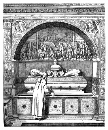 The fountain of the Monks, has the Certosa of Pavia. - Drawing of E. Lechevallier-Chevignard, vintage engraved illustration. Magasin Pittoresque 1875.