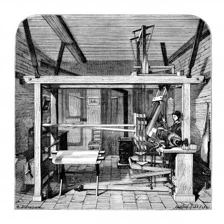 Weaving workshop in Lyon. - Drawing Jahandier, after Victor Grilat, vintage engraved illustration. Magasin Pittoresque 1875. illustration
