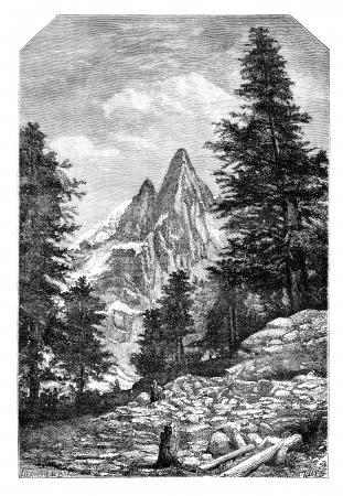 The needle of the Dru and the Aiguille Verte, in front of Montanvert .- Drawing A. Bar, after a photograph of Mr. Quetier, vintage engraved illustration. Magasin Pittoresque 1875. Stock Illustration - 13708181