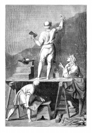 coating: Preparation of the coating to paint a mural. - Drawing of L. -Chevignard, for after Andrea Pozzo, vintage engraved illustration. Magasin Pittoresque 1875.