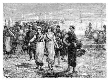 old people: The. Cancale the boats return, statement of Eugene Feyen. - Drawing Sellier, vintage engraved illustration. Magasin Pittoresque 1875.