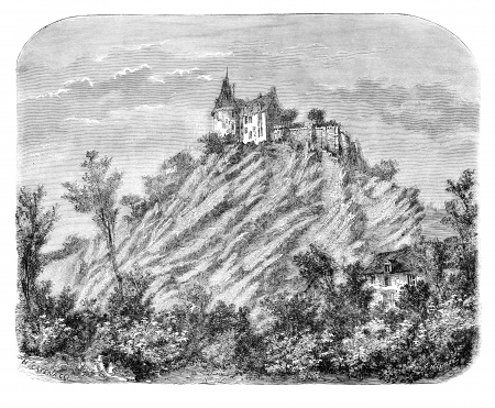 chateau: Chateau of Sainte-Suzanne (Mayenne). - Drawing Catenacci, vintage engraved illustration. Magasin Pittoresque 1875.