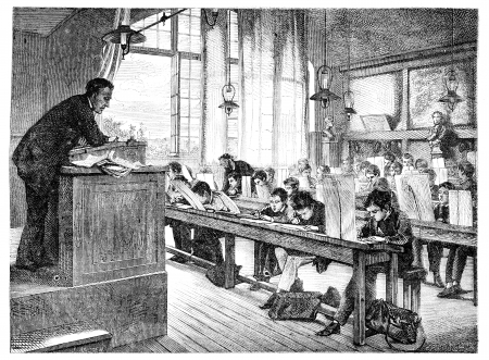 Salon of 1874; paint. - A drawing lessons at school Cochin, by A. Truphème. - The Drawing Hernault, vintage engraved illustration. Magasin Pittoresque 1875. Banco de Imagens - 13708175