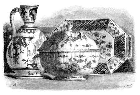 Earthenware of Rouen Painted. - Drawing of Edward Garnier, vintage engraved illustration. Magasin Pittoresque 1875.