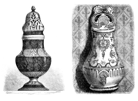 fontaine: Faience from Rouen. Fontaine applies; Painted, Sugar, a yellow ocher decor. - Drawing of Edward Garnier, vintage engraved illustration. Magasin Pittoresque 1875.