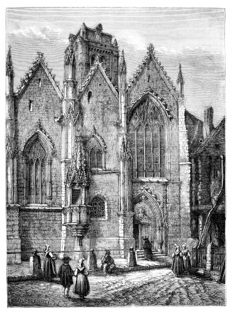 magasin pittoresque: Church of Our Lady, a glass (Ille-et-Vilaine). - Drawing Catenacci., vintage engraved illustration. Magasin Pittoresque 1875.