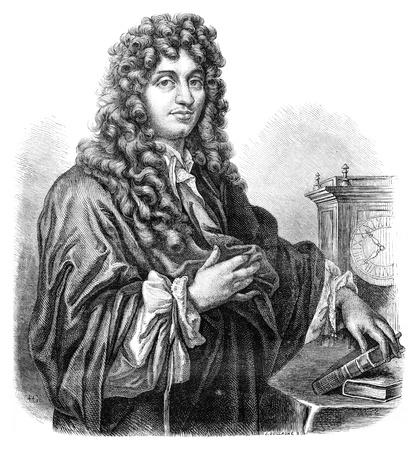 Huygens. - Drawing of Edward Garnier. of Edelinck after, vintage engraved illustration. Magasin Pittoresque 1875. illustration
