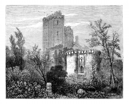 magasin pittoresque: The Castle of Lavardin. - Drawing Tirpenne, vintage engraved illustration. Magasin Pittoresque 1875. Stock Photo