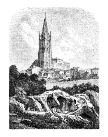 magasin pittoresque:  Les Arenes and the steeple of St. Eutropius, a Saintes, vintage engraved illustration. Magasin Pittoresque 1875 Stock Photo