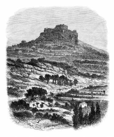 bishop: The Rock of Caylus, near Saint-Affrique (Aveyron), vintage engraved illustration. Magasin Pittoresque 1875