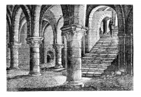 magasin pittoresque: Underground the tithe barn, a Provins (Seine-et-Marne), vintage engraved illustration. Magasin Pittoresque 1875.
