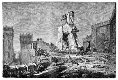 Salon of 1874, Painting. - The Trojan Horse, by Motte, vintage engraved illustration. Magasin Pittoresque 1875. Stock Photo