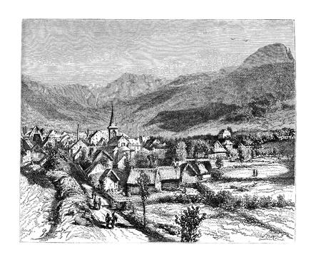 commune: Town of Mont-Dore-les-Bains, vintage engraved illustration. Magasin Pittoresque 1875.