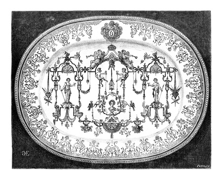decor: Large dish of Moustiers faience, blue decor, vintage engraved illustration. Magasin Pittoresque 1875.
