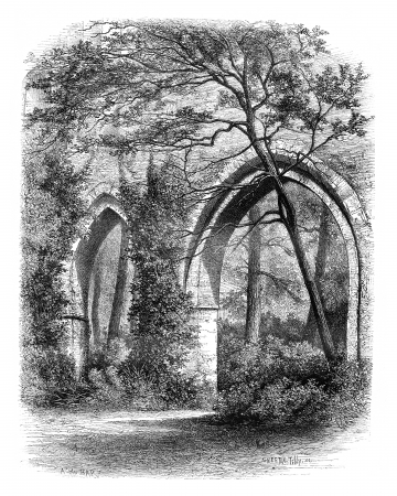 catholicism: Cloister of the Abbey of Vaux Cernay, France, vintage engraved illustration. Magasin Pittoresque 1875.