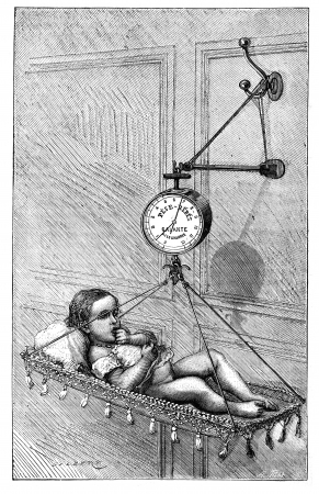 magasin pittoresque:  Baby Scale by Dr. Bouchut, vintage engraved illustration. Magasin Pittoresque 1875.