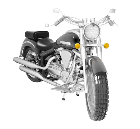 harley: Classic black leather and chrome motorbike or moto, isolated against a white background. 3D illustration