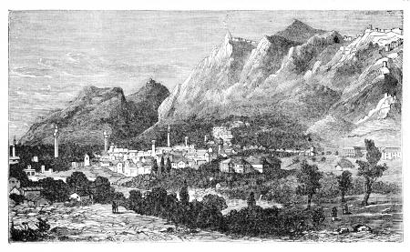 Oude stad van Antiochië aan de Orontes, thans bekend als Antakya, Turkije Vintage gravure Oude gegraveerde afbeelding van de stad waar de volgelingen van Jezus Christus Christenen genaamd werden voor de eerste keer
