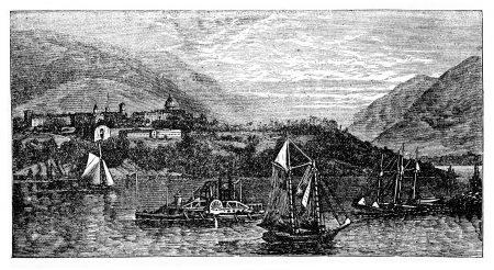 albatross: West Point Island or Albatross Island, during the 1890s, vintage engraving  Old engraved illustration of West Point Island with moving ships in front