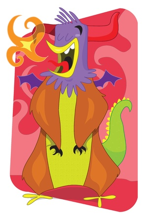 Flaming alien monster rooster cartoon illustration Illusztráció