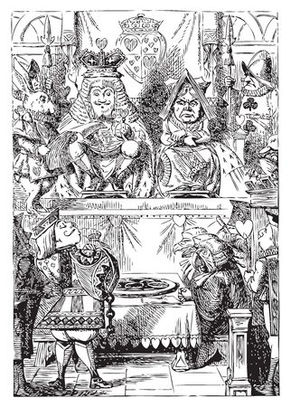 Alice in Wonderland. Frontispiece: The King and Queen inspecting the tarts. The plate of tarts is presented for the approval of the King and Queen of Hearts in their throne-room. Alices Adventures in Wonderland. Illustration from John Tenniel, published  Vector