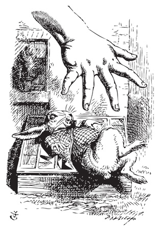 Alice in Wonderland. Alice stretches her hand and tries to grab the White Rabbit. Alices Adventures in Wonderland. Illustration from John Tenniel, published in 1865. Vector