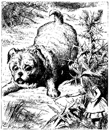 Alice in Wonderland old engraving. Alice showing a stick to an enormous puppy or dog: Alice's Adventures in Wonderland. Illustration from John Tenniel, published in 1865. Vector