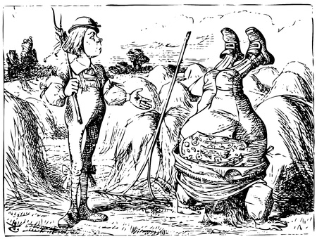 Alice in Wonderland old engraving. Father William standing on his head near hayloft: Alice's Adventures in Wonderland. Illustration from John Tenniel, published in 1865. Vector