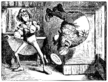 Alice in Wonderland old engraving. Father William jumping or doing a summersault: Alice's Adventures in Wonderland. Illustration from John Tenniel, published in 1865. Vector