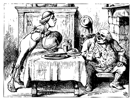 Alice in Wonderland old engraving. Father William eating in his house.: Alice's Adventures in Wonderland. Illustration from John Tenniel, published in 1865. Vector