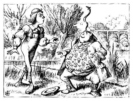 Alice in Wonderland old illustration engraving. Father William balancing eel on his nose: Alice's Adventures in Wonderland. Illustration from John Tenniel, published in 1865. Vector