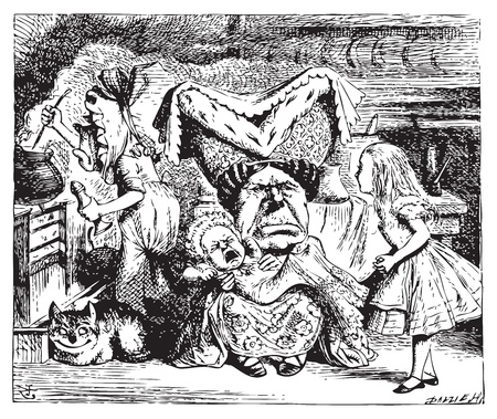 Alice in Wonderland.Cook, Duchess, Cheshire Cat, Baby, and Alice. Duchess is sitting on a three-legged stool in the middle, nursing a baby. Alice's Adventures in Wonderland. Illustration from John Tenniel, published in 1865. Vector