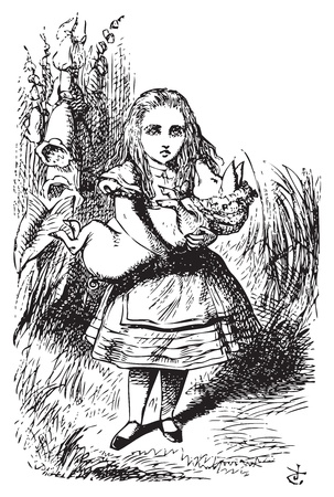 Alice and the pig baby - Alice's Adventures in Wonderland original vintage engraving.This time there could be no mistake about it: it was neither more nor less than a pig, and she felt that it would be quite absurd for her to carry it further. Vector