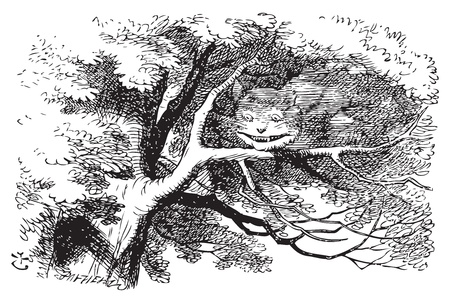 Alice in Wonderland. Cheshire Cat fading to smile. The cat vanished quite slowly, beginning with the end of the tail, and ending with the grin, which remained some time after the rest of it had gone. Vector