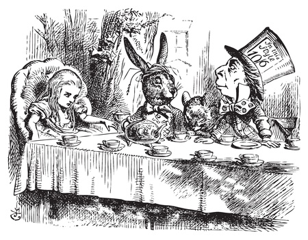 Mad Hatter�s Tea Party, Alice in Wonderland original vintage engraving. Tea party with the Mad Hatter, Dormouse and the White Rabbit. Alice's Adventures in Wonderland. Illustration from John Tenniel, published in 1865. Vector