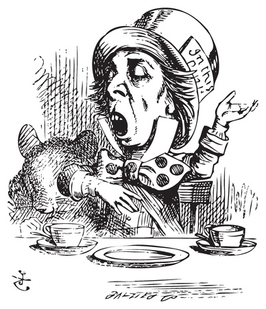 Hatter engaging in rhetoric. Mad Hatter is telling a story to Alice and his friends. Alice in Wonderland original vintage engraving. Alice's Adventures in Wonderland. Illustration from John Tenniel, published in 1865. Vector