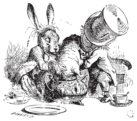 Mad Hatter and March Hare dunking the Dormouse. ...the last time she saw them, they were trying to put the Dormouse into the teapot. Alices Adventures in Wonderland original vintage illustration. Illustration from John Tenniel, published in 1865. Vector