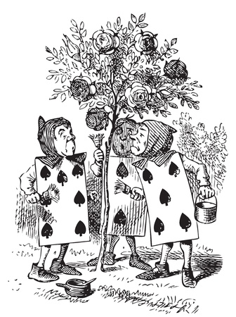 Two, Five and Seven painting the rosebush. A large rose-tree stood near the entrance of the garden: the roses growing on it were white, but there were three gardeners at it, busily painting them red. Alice's Adventures in Wonderland. Illustration from Joh Vector