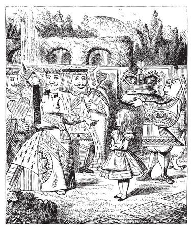 The Queen turned crimson with fury, and, after glaring at her for a moment like a wild beast, screamed �Off with her head! Off... Alice's Adventures in Wonderland original vintage engraving. Illustration from John Tenniel, published in 1865. Vector