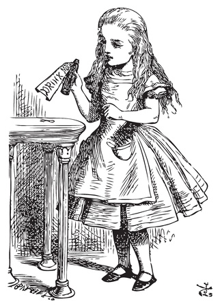 Alice in Wonderland. Drink me. Alice is picking up a small bottle on the table, which has a label that you can read Drink Me.Alice's Adventures in Wonderland. Illustration from John Tenniel, published in 1865. Vector
