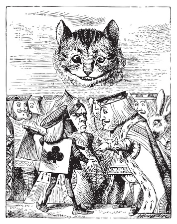 Executioner argues with King about cutting off Cheshire Cat�s head - Alice's Adventures in Wonderland original vintage engraving.When she got back to the Cheshire Cat, she was surprised to find quite a large crowd collected round it: there was a dispute g Stock Vector - 13708288