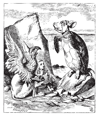 The Mock Turtle and Gryphon sing to Alice - Alice's Adventures in Wonderland original vintage engraving. Illustration from John Tenniel, published in 1865. Vector