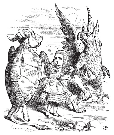 The Lobster Quadrille - Alice's Adventures in Wonderland original vintage engraving. The Mock Turtle and the Gryphon demonstrating the Lobster Quadrille dance to Alice. Illustration from John Tenniel, published in 1865. Vector