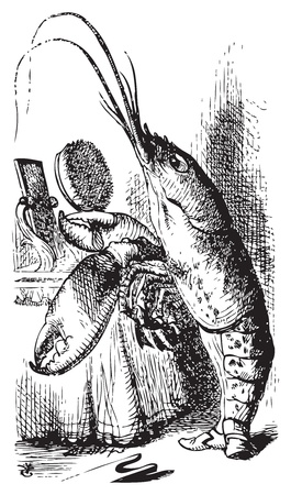 Lobster primping before a mirror - Alice's Adventures in Wonderland original vintage engraving. The Lobster declare: You have baked me too brown, I must sugar my hair. Illustration from John Tenniel, published in 1865. Vector
