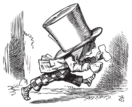 Mad Hatter just as hastily leaves - Alice's adventures in Wonderland original vintage engraving. The Mad Hatter runs out of court in his socks, carrying sandwich and (bitten) teacup. Illustration from John Tenniel, published in 1865. Vector