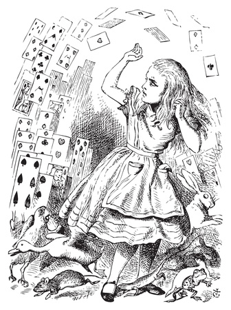 Alice in Wonderland. Nothing but a pack of cards. At this whole pack rose up into the air, and came flying down upon her... Alices Adventures in Wonderland. Illustration from John Tenniel, published in 1865. Vector