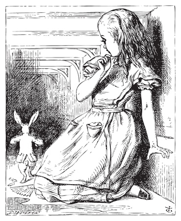 Alice in Wonderland. Alice grown big looking at the White Rabbit returning, splendidly dressed. Alice's Adventures in Wonderland. Illustration from John Tenniel, published in 1865. Vector