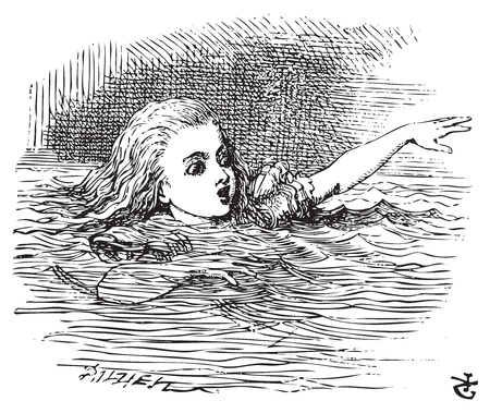 Alice in Wonderland. Alice Swimming in her pool of giant tears, up to her chin in salt water. Alices Adventures in Wonderland. Illustration from John Tenniel, published in 1865. Vector